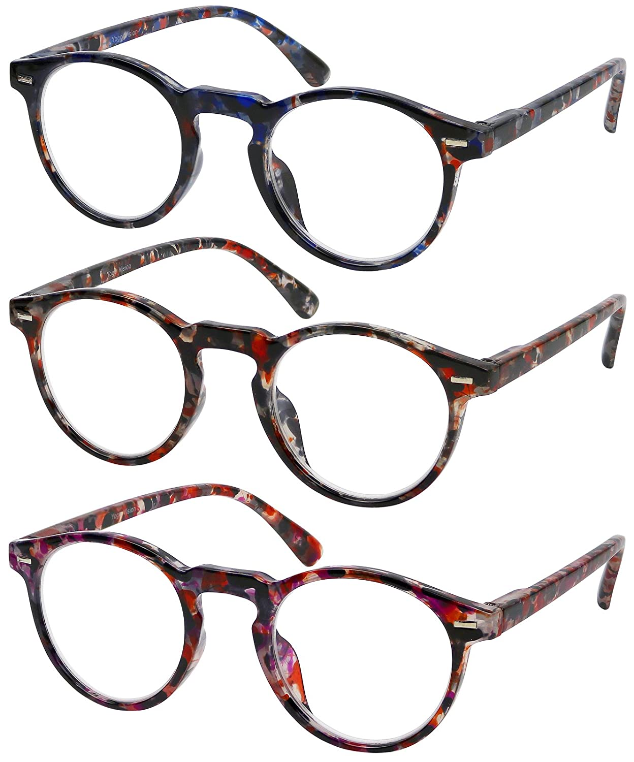 Reading Glasses 3 Pair High Quality Fashion Spring Hinge Marble Look Stylish Readers for Women