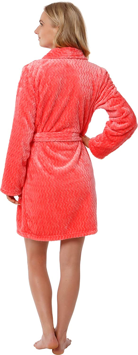 Silver Lilly Womens Embossed Robe Plush Fleece Chevron Coral Textured Short Kimono Bathrobe