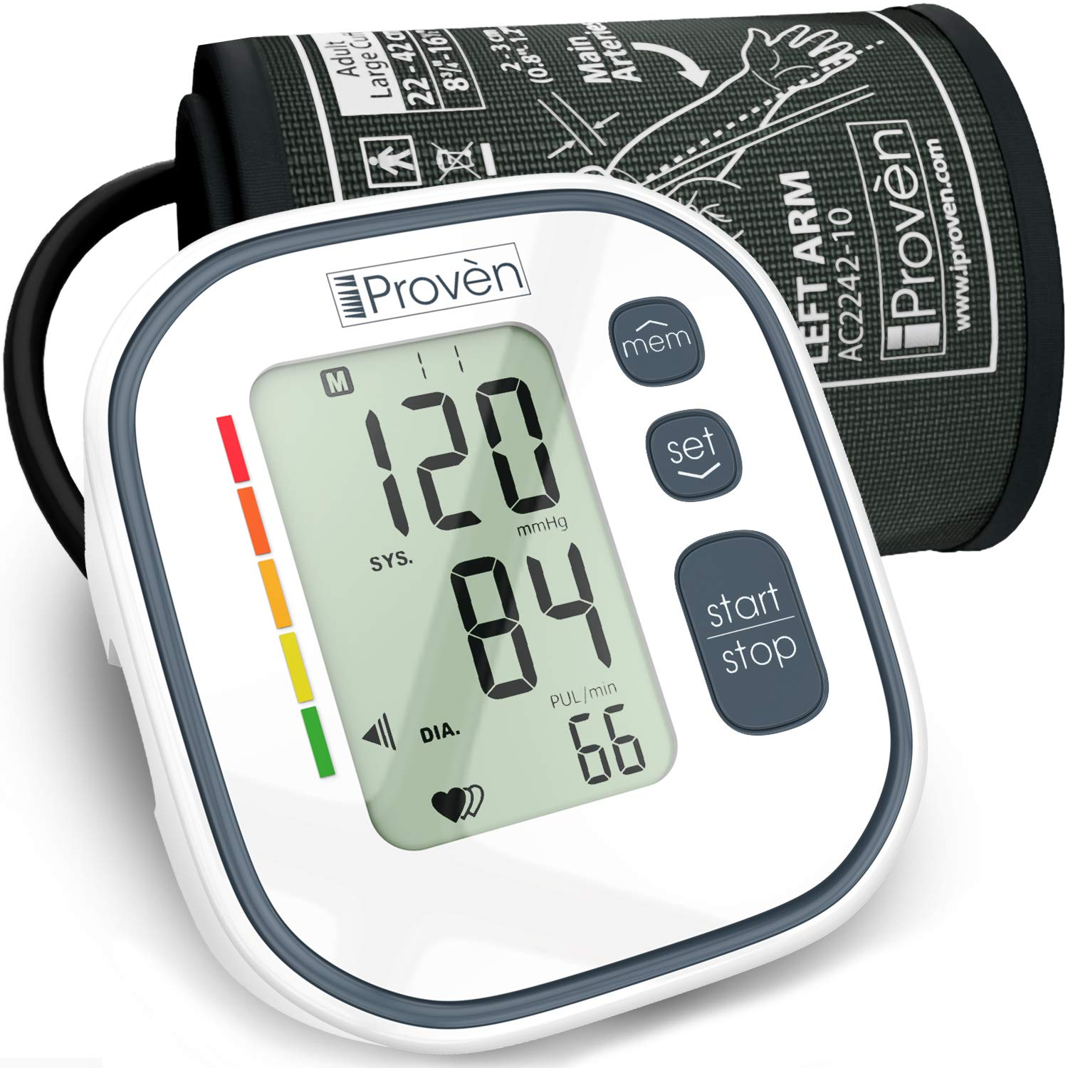 Blood Pressure Monitor Upper Arm BPM-634 - Automatic BP Machine - Top Rated FDA Approved Electronic BP Monitors - Arterial Home BP Cuff Machines - Tensiometro Digital (Gray)