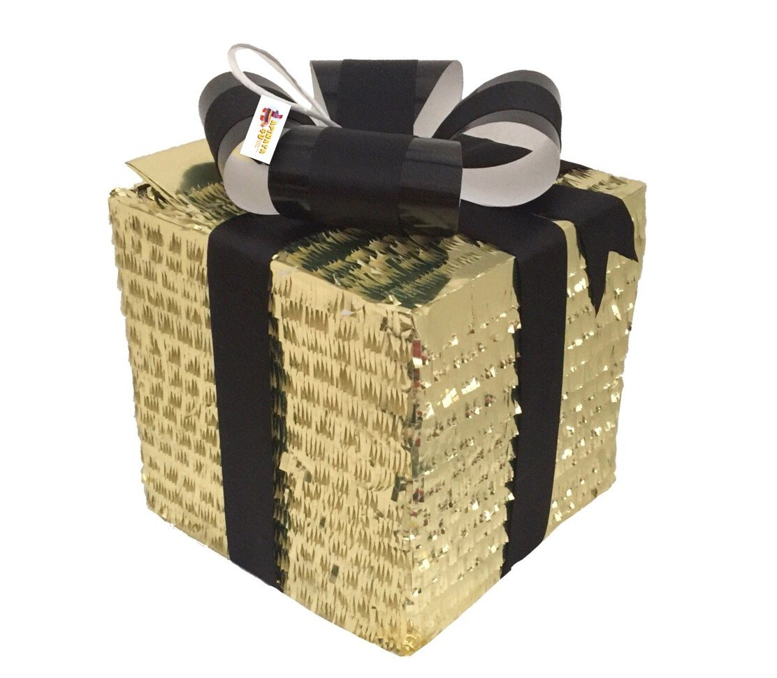 Amazon.com: APINATA4U Gold Gift Box Pinata with Black Bow / Gender Reveal Pinata: Toys & Games