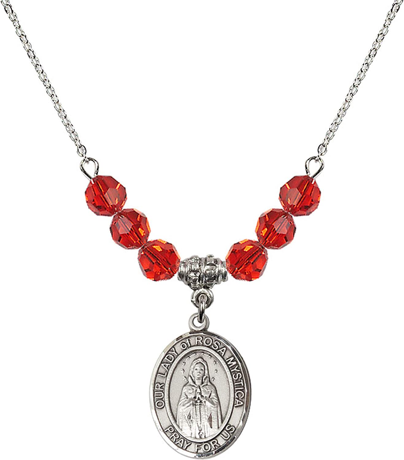 Bonyak Jewelry 18 Inch Rhodium Plated Necklace w// 6mm Red July Birth Month Stone Beads and Our Lady of Rosa Mystica Charm