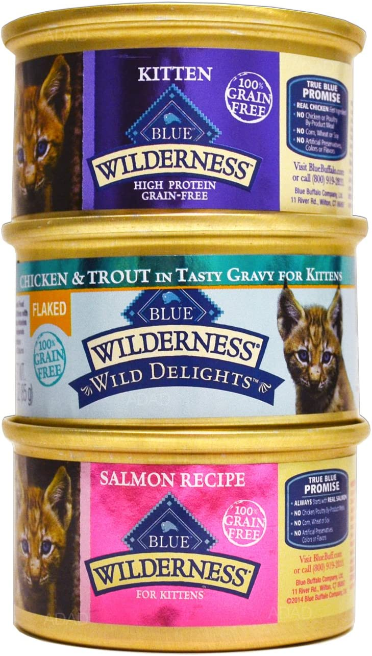 Blue Buffalo Wilderness Grain-Free Kitten Cat Food Variety Pack Box – 3 Flavors Salmon, Chicken, Flaked Wild Delights Chicken Trout – 12 3 Ounce Cans – 4 of Each Flavor