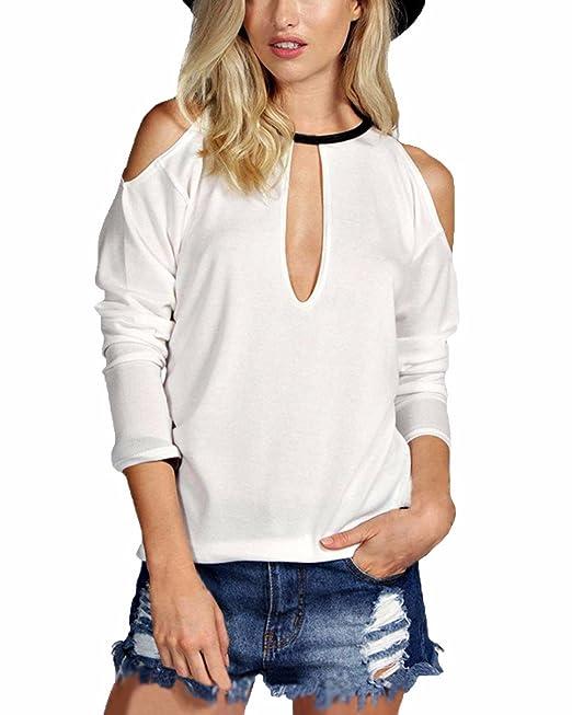 ZANZEA Mujer Blusa Camiseta Casual con Escote Lágrima Manga Larga Abierta blanco EU 36
