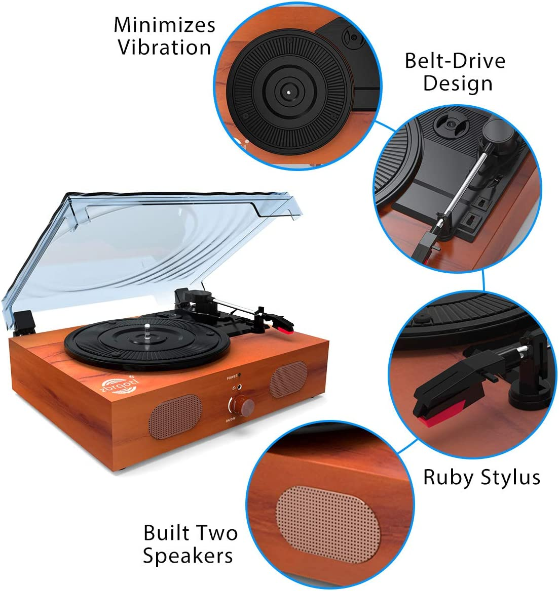 Home Audio & Theater Electronics Vintage Turntable 3-Speed Vinyl ...