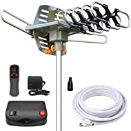InstallerParts Amplified Outdoor HDTV Antenna -- 150 Miles Long Range -- Motorized 360 Degree Rotation -- Wireless Remote Control