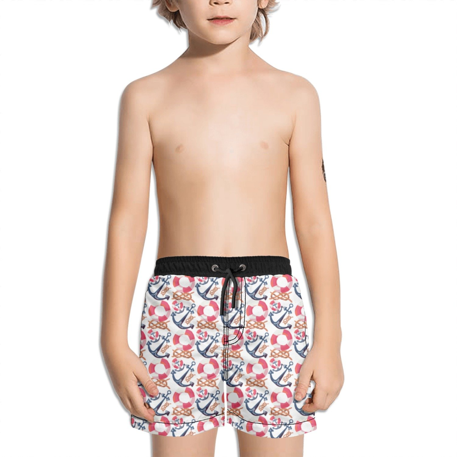 Juliuse Marthar Anchor and Survival Circle Fashion Swimming Trunks Short Quick Dry Summer Short for Children