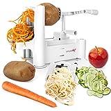 Simple Chef Vegetable Spiralizer - Vegetable Spiral Slicer - Includes Multiple Blades for Vegetable Noodles, Pasta, and Spaghetti