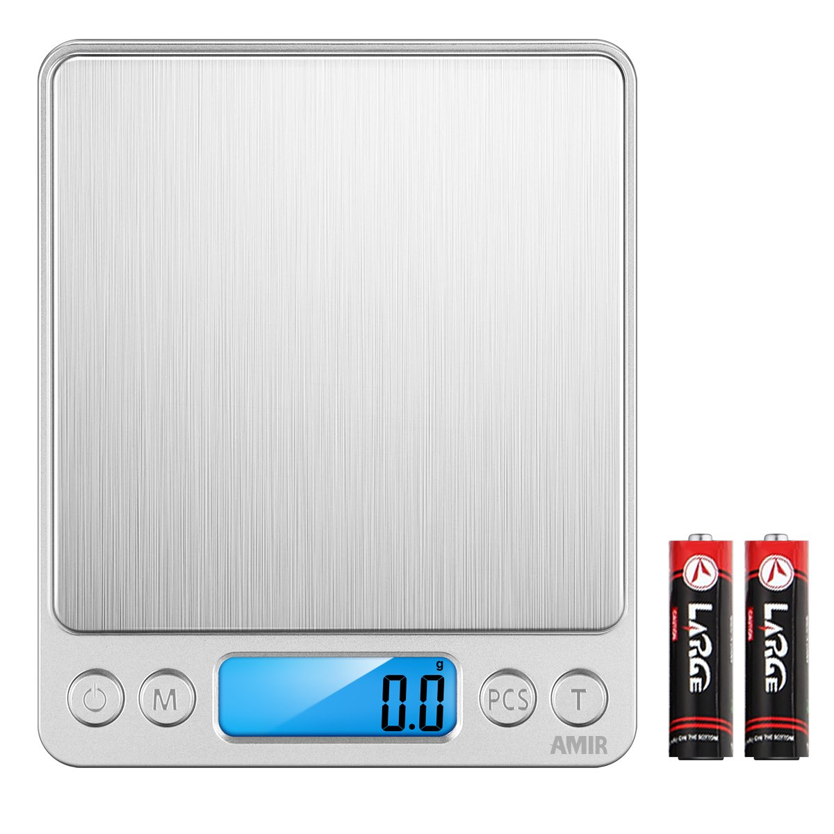 AMIR Digital Kitchen Scale, 3000g 0.01oz/ 0.1g Pocket Cooking Scale, Mini Food Scale, Pro Electronic Jewelry Scale with Back-Lit LCD Display, Tare & PCS Functions, Stainless Steel, Batteries Included by AMIR