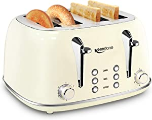 Toasters 4 Slice, Keenstone Retro Stainless Steel Bagel Toaster with Wide Slots, Beige