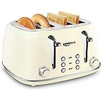 Toasters 4 Slice, Keenstone Retro Stainless Steel Bagel Toaster with Wide Slots, Beige