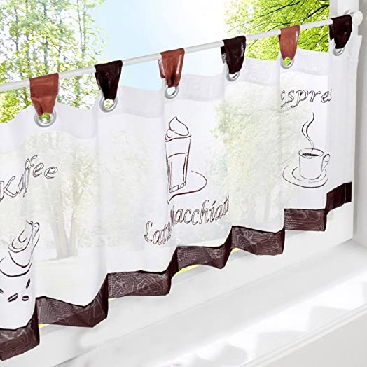 1pcs Tab Top Semi Sheer Cafe Curtain Short Kitchen Curtains