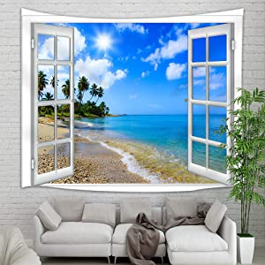 """Seaside Window Tapestry Wall Hanging, Ocean Scenery Sand Beach with Palm Tree Wall Tapestry Art, Tapestries for Home Decorations TV Backdrop Dorm Decor Living Room Bedroom, Beach Towel, (60""""X40"""")"""
