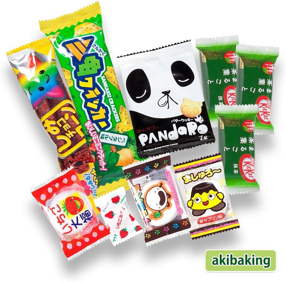 Japonés valioso partido Snack BOX popular conjunto Dagashi Japón Aerial chocolate Pocky Matcha con AKIBA KING Sticker: Amazon.es: Alimentación y bebidas