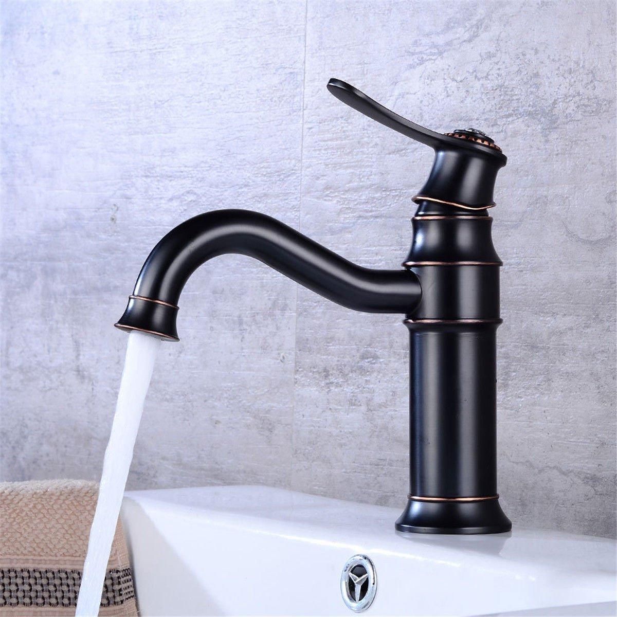MEIBATH Waschtischarmatur Badezimmer Waschbecken Wasserhahn Küchenarmaturen Schwarz drehbar Warmes und Kaltes Wasser Küchen Wasserhahn Badarmatur