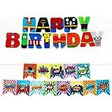 2 PACK Superhero Birthday Banner for Party Decorations - Superhero Inspired HAPPY BIRTHDAY Banner, Superhero Banner for Boys