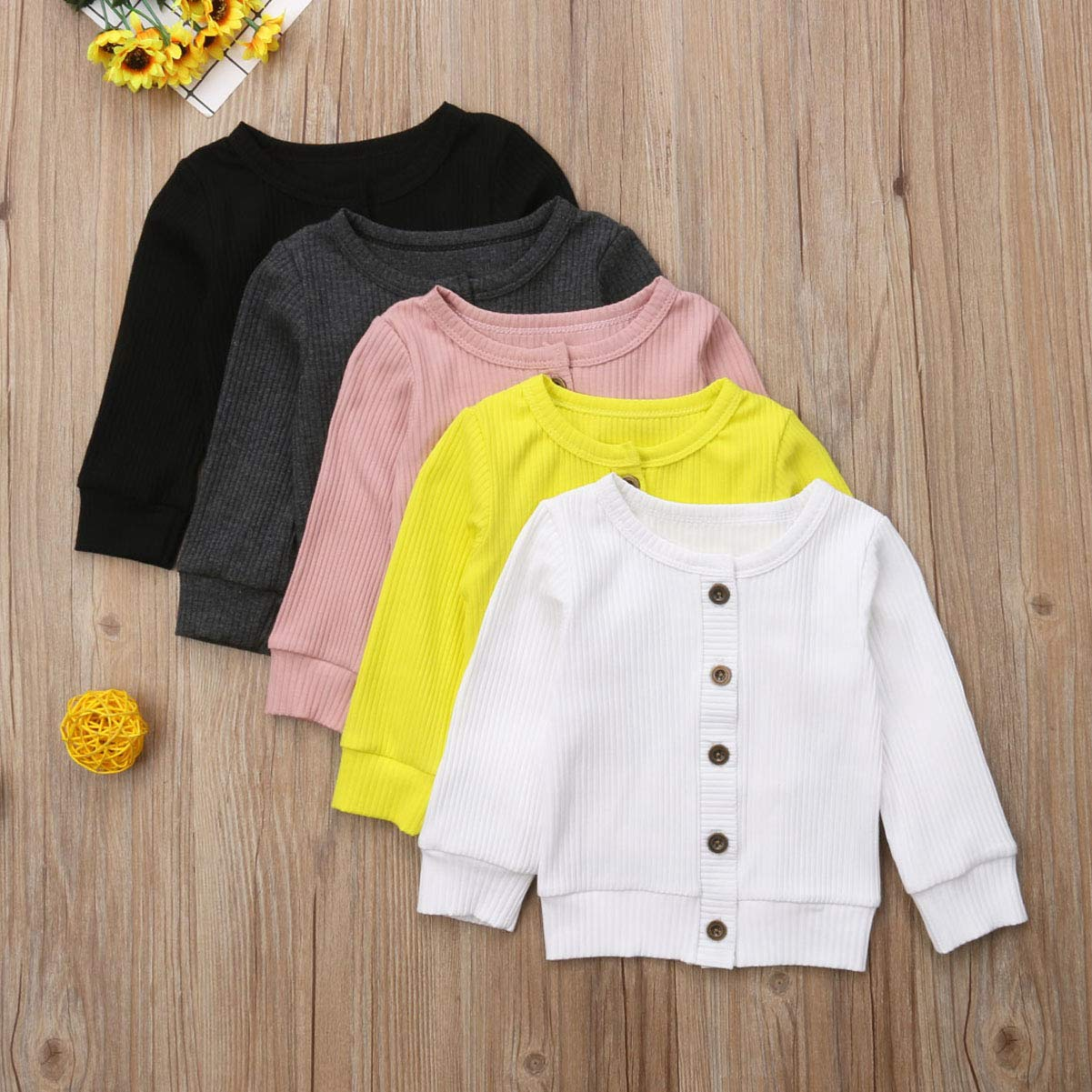 b95863a98 Infant Baby Girl Button Down Knitwear Long Sleeve Soft Basic Knit ...