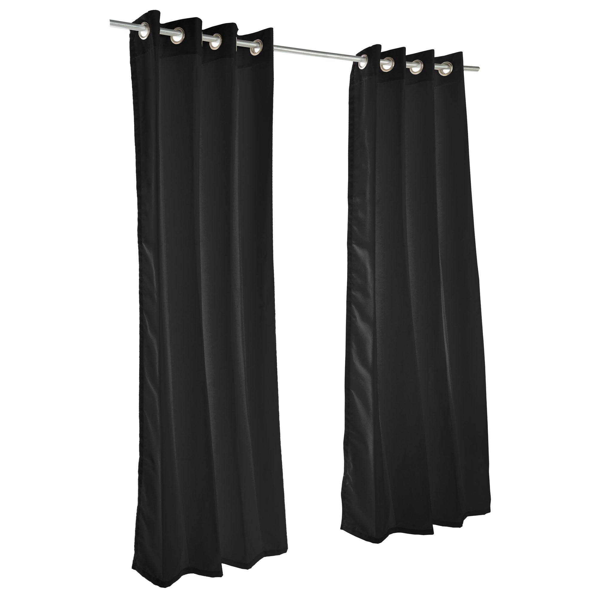 Essentials by DFO Black Sunbrella nickel grommeted outdoor curtain 108 long