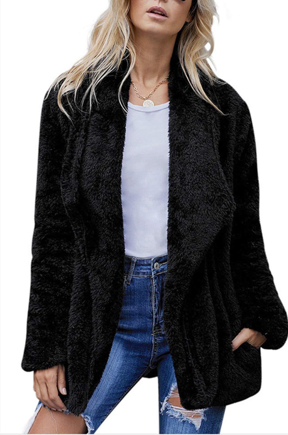 Kelove Women's Winter Oversized Thick Warm Fluffy Fleece Open Front Coat Outwear with Pockets,Casual Sherpa Jacket Black by Kelove