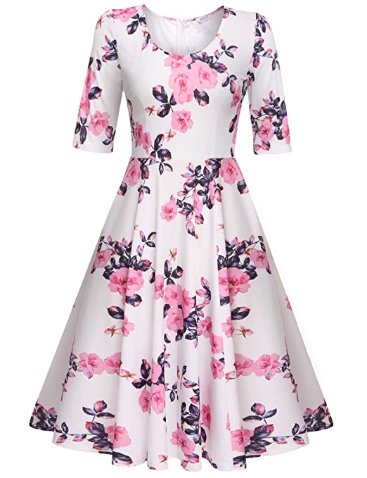 Meaneor Women's Floral Pleated Knee-Length Vintage Cocktail Dresses,Pink/S