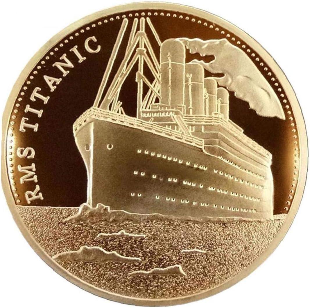 AMOYER 1pc Coin Collecting Titanic Ship Commemorative Coin Titanic 100 Year Anniversary Token Commemorative Collectable BTC Bitcoin Arts Gifts Decor