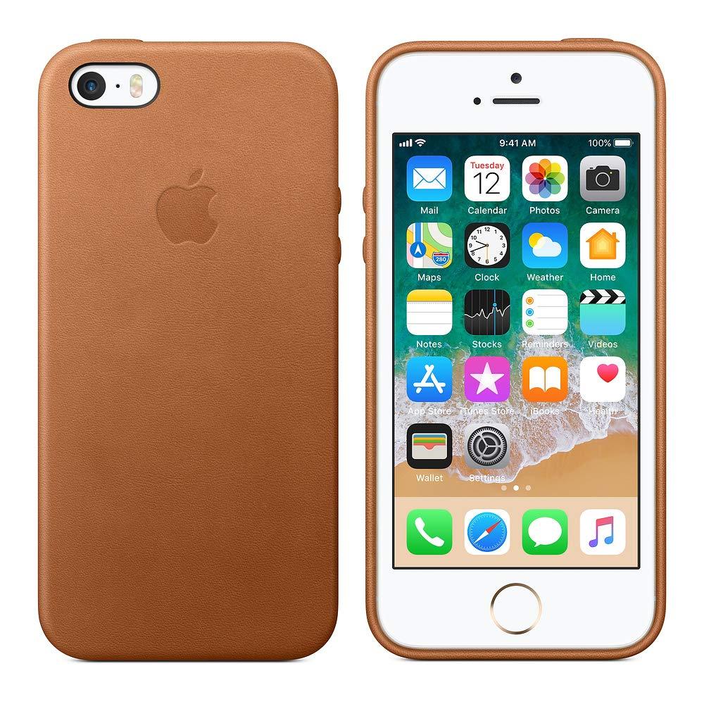 fba9b16e4b Amazon | Apple iPhone SE レザーケース - サドルブラウン(アップル 純正品/メーカー型番:MNYW2FE/A) | ケース・カバー  通販