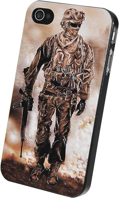 Circle Case Coque pour iPhone 4/4S Motif Commando Call of Duty Raid GIGN GIPN 3D Relief