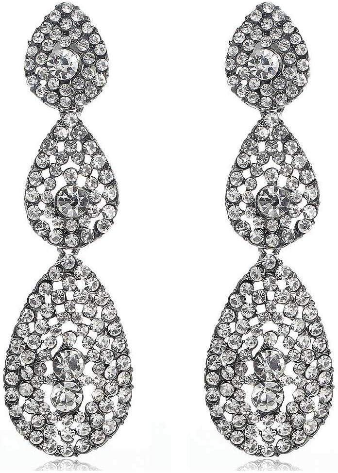 Erin Pendientes Colgantes De Diamantes De Imitación Blancos De Cristal Blanco Moda Femenina Pendientes De Piedras Preciosas De Plata Antigua Modelos Femeninos E1115