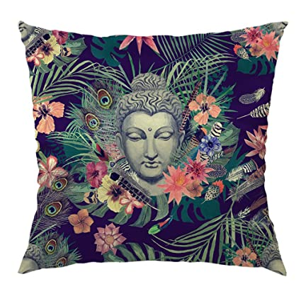 Amazon Moslion Buddha Pillow Flowers Peacock Feathers Buddha Adorable Buddha Decorative Pillows