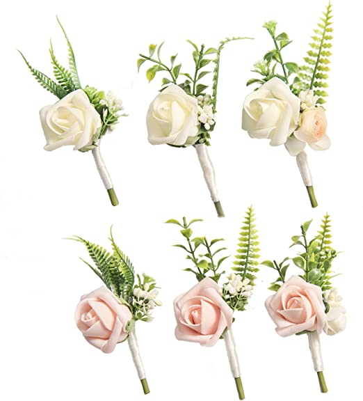 Amazon.com: Ling's moment Boutonnieres for Men Wedding ...