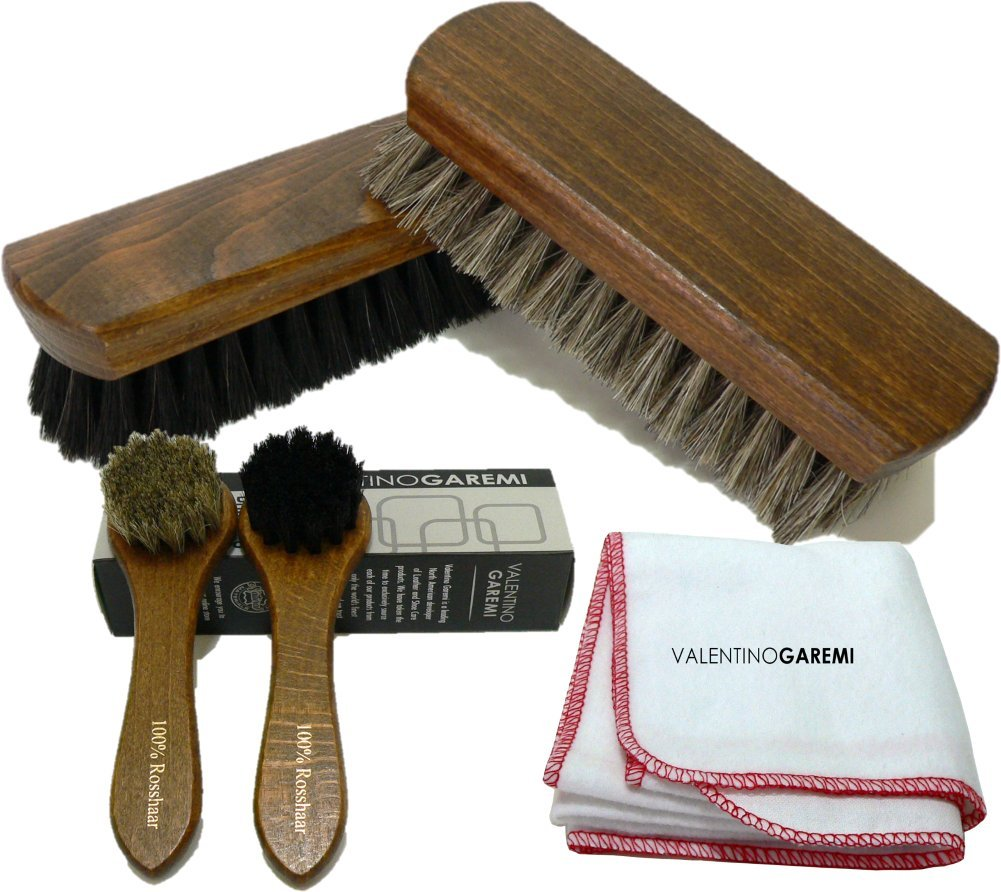 Shoe Care Brush Set 2 Polishing Brushes 1 Cloth 2 Applicators Brush Genuine Horsehair Made in Germany by Valentino Garemi