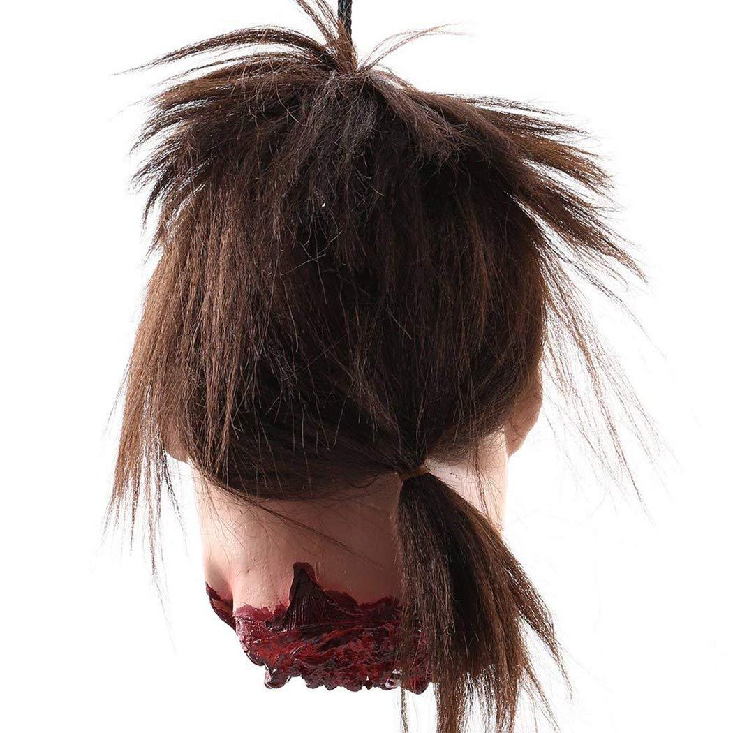 Moneil Halloween Props Scary Hanging d/écorations de la t/ête coup/ée taille r/éelle sanglante couper cadavre fant/ôme t/ête anim/ée t/ête de zombie pour les maisons hant/ées d/écor de f/ête dr/&