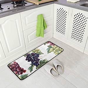 "Jereee Watercolor Grapes Non-Slip Kitchen Mat Rectangle Polyester Doormat Floor Runner Rug Home Decor 39"" x 20"""
