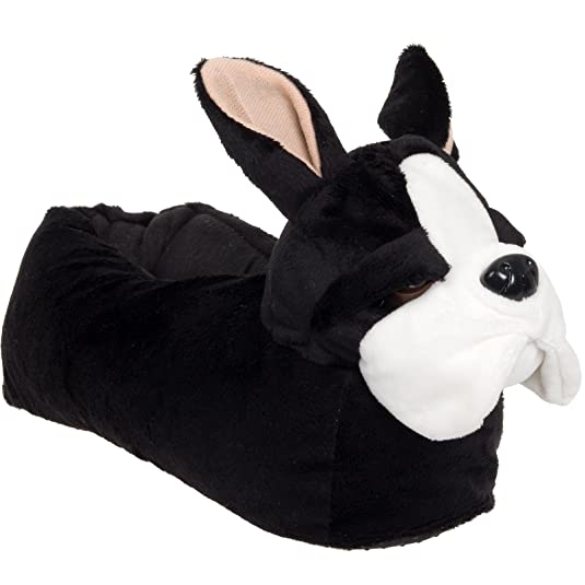 Animal Slippers - Plush French Bulldog Dog Slippers