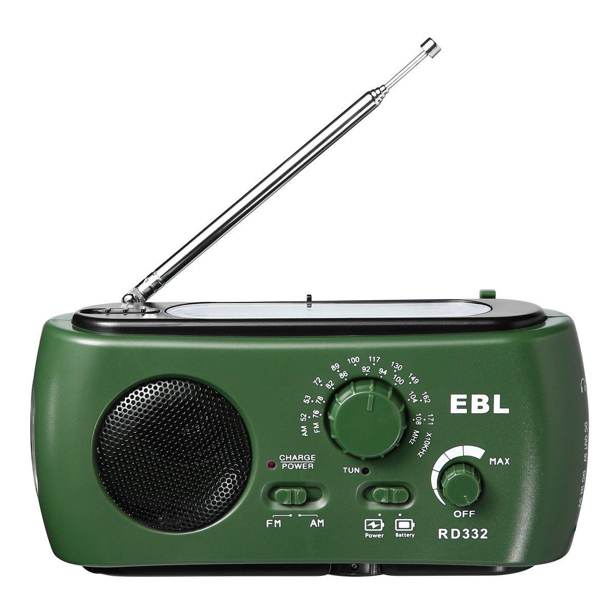 EBL Portable Emergency Solar Crank AM FM Camp Radio with LED Flashlight, USB Output Port, Reading Lamp