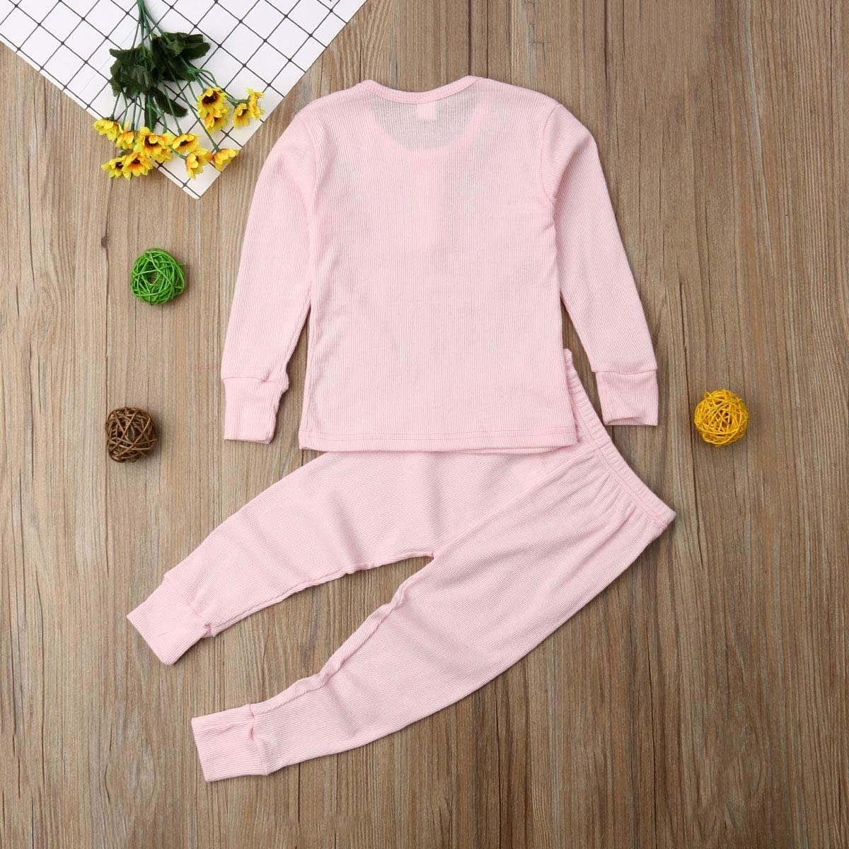 Long Sleeve Top and Pant 2-Piece Pj Set Underwear Fall Toddler Baby Boys Girls Snug-fit Pajamas Sleepwear Sets