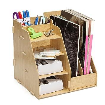 Sorliva Holz Schreibtisch Organizer Multi Büro Datei Halterung Rack