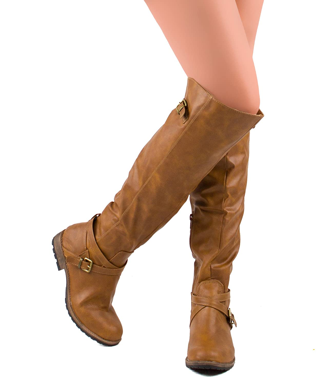 Women's Tan Strappy Buckle Over-the-Knee Block Heel Leatherette Boots