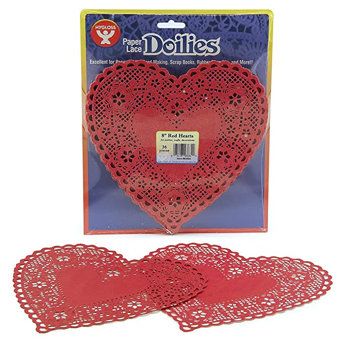 Amazon Hygloss Products Heart Paper Doilies 6 Inch Red Lace