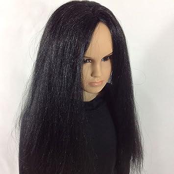 Noir longue ligne droite hommes perruque