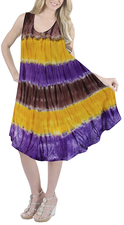LA LEELA Boho Beach Casual Party Wear Summer Evening Maxi Dress Women Tie Dye TD Viscose RefOS001(Salli)