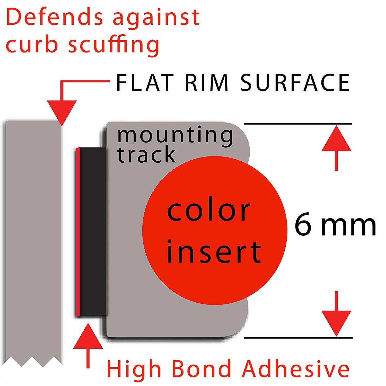Dauerhafter Allwetterschutz 4 x innere Nadelstreifen RimPro-Tec System Bordsteinbesch/ädigung reduzieren Farbe Basis:Schwarz   Innen:Schwarz Passend f/ür alle R/äder von 14-22 4 x Basis