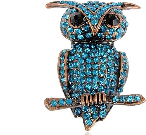 1P Wise Owl Brooch Pin Rhinestone Enamel Cute Owl Brooch Women Girls Boys Gift