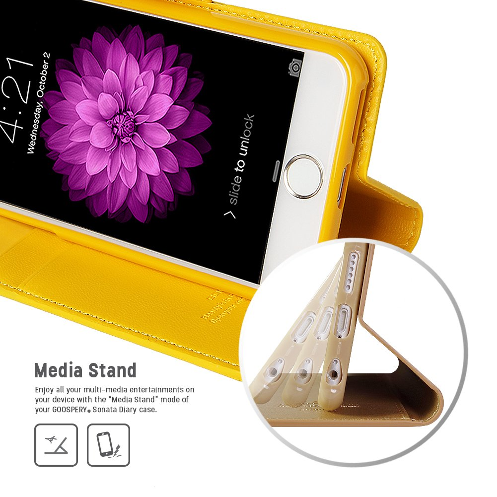 Iphone 6s 6 Case Drop Protection Goospery Sonata 8 Fancy Diary Yellow Hotpink Wallet Type Synthetic Leather Id Card Cash Slot W Stand Cover For
