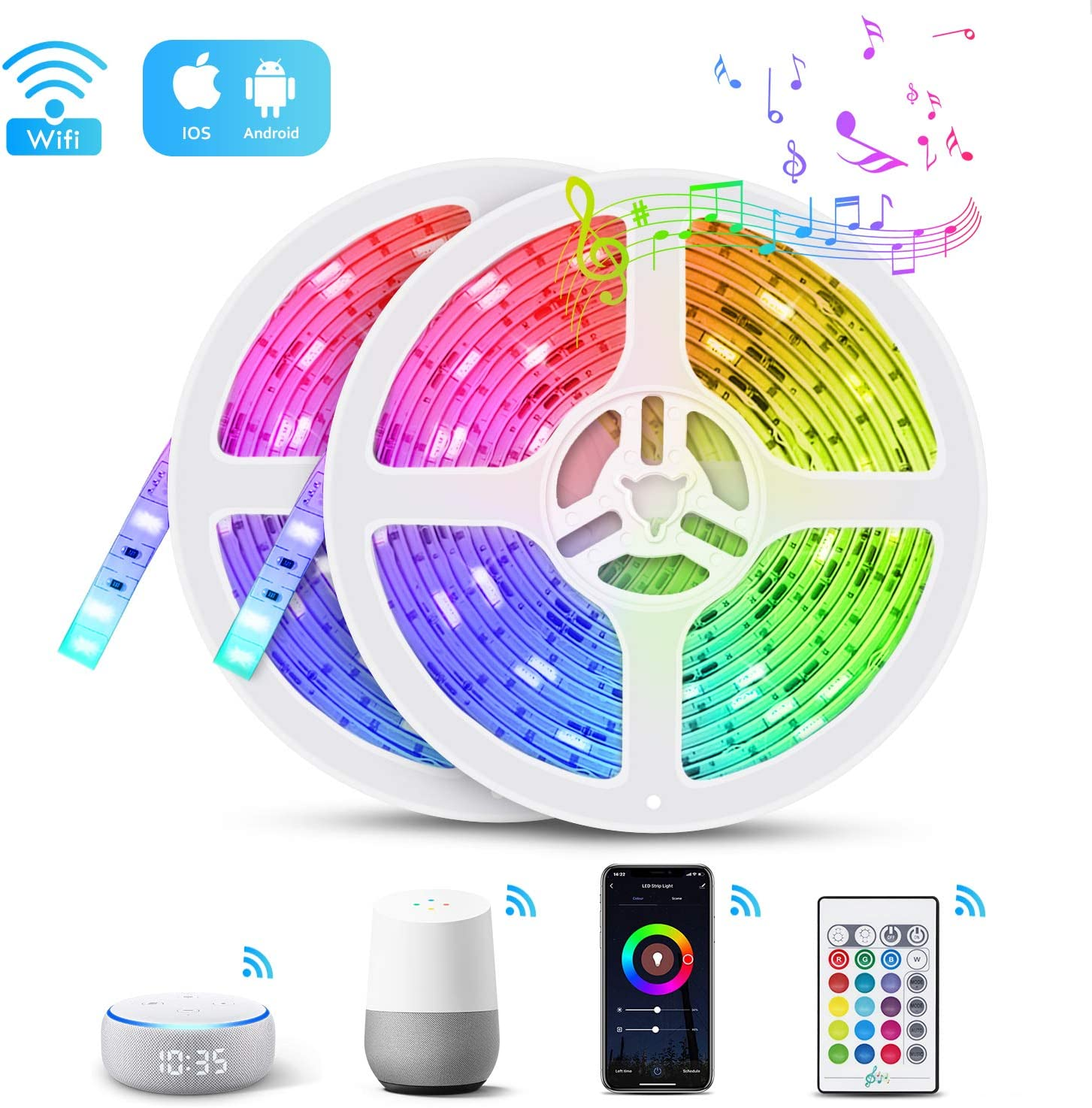32.8FT LED Strip Lights, TASMOR Smart Color Changing Music Sync Light Strip Works Alexa & Google Assistant, Phone APP Controlled Waterproof LED Strip Lights with Remote for Bedroom, Home, Parties
