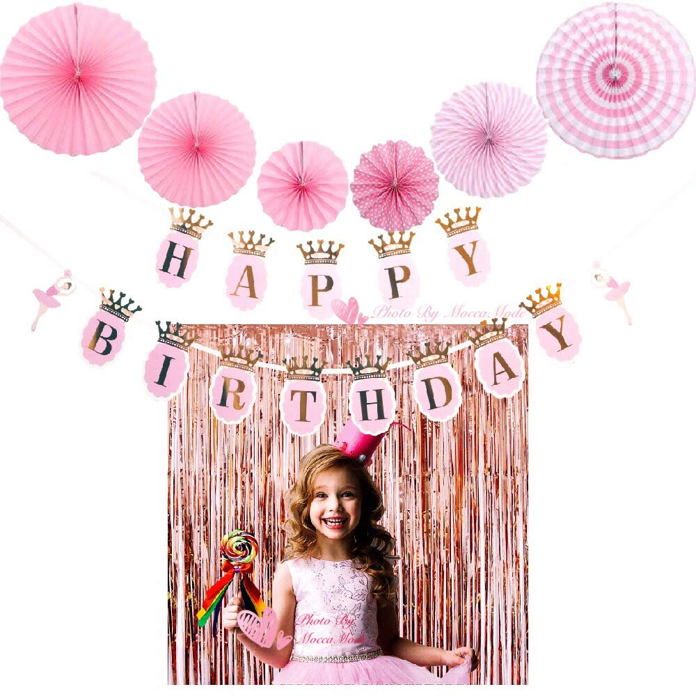MOCCAMODE Backdrop Birthday Party Curtain Rose Gold Metallic Tinsel Foil Fringe Curtains Decoration And Happy Birthday Banner With 2pcs Rose Gold Metallic Fringe Curtains 6pcs Tissue Paper Fans (21 PC by MOCCAMODE