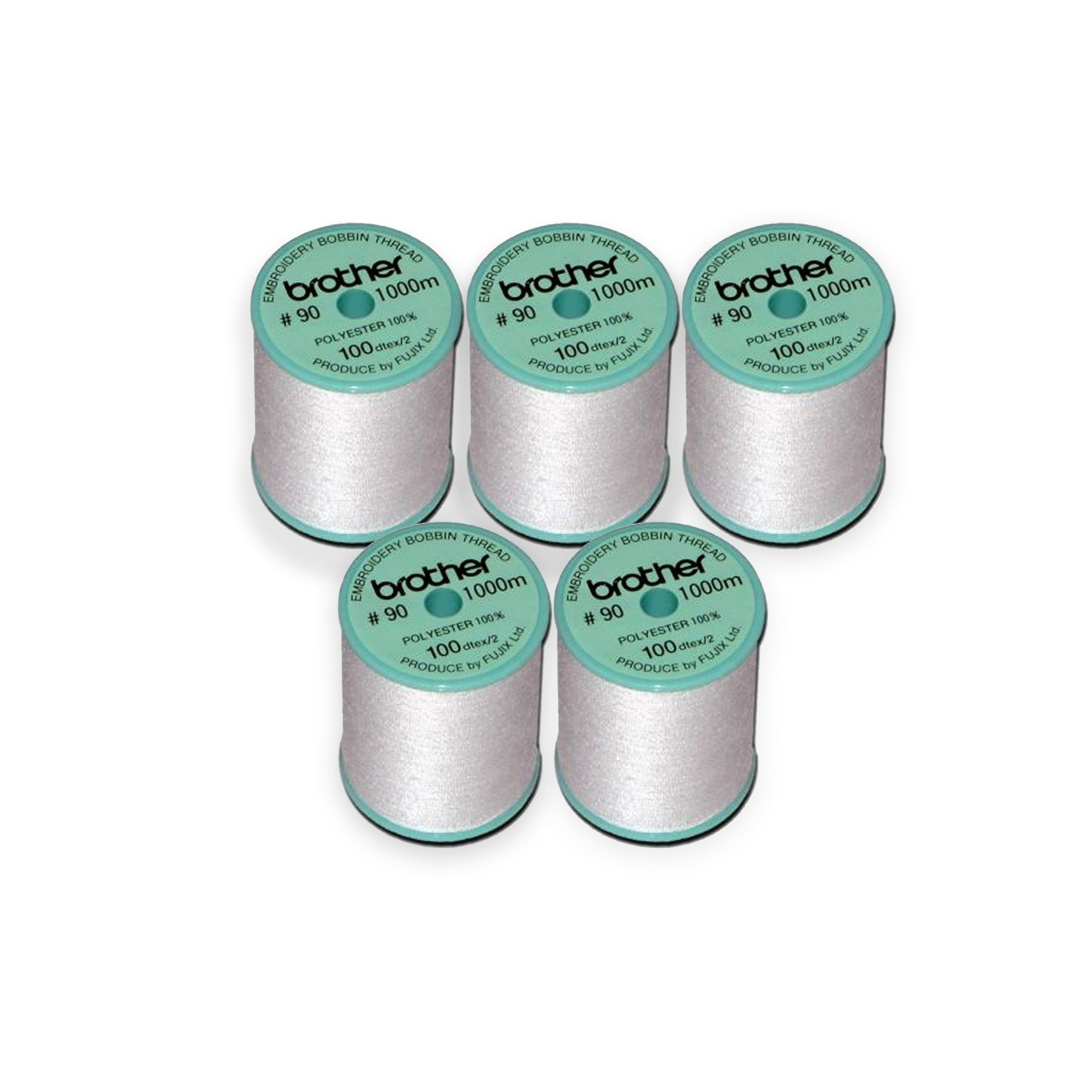 Brother 5 Pack EBTPE 90-Weight Embroidery Thread, White by Brother