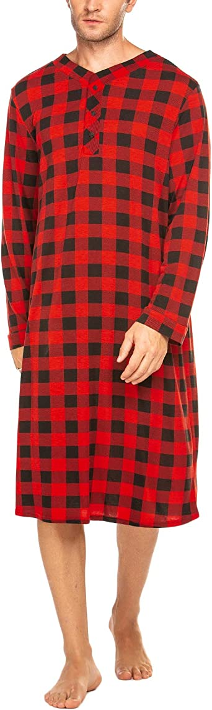 INZOE Camisón largo para hombre, pijama largo de manga larga, pijama a cuadros, talla M-XXXL con botones
