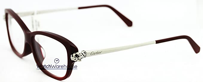 c2a34d16015 Image Unavailable. Image not available for. Colour  Cartier Panthere Wild  Burgundy Rect Women Optical Eyeglasses EYE00059