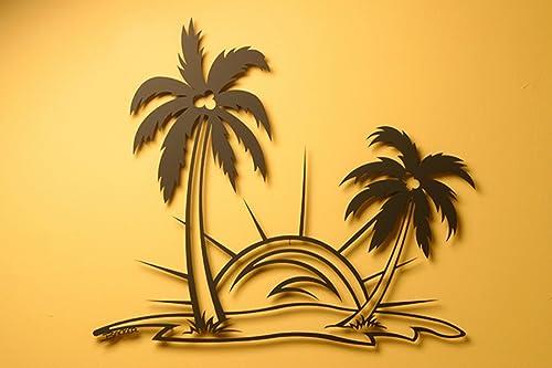 Palm Tree Scene Metal Wall Art