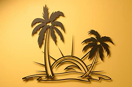 Amazon.com: Palm Tree Scene Metal Wall Art, Black Metal Wall Art ...